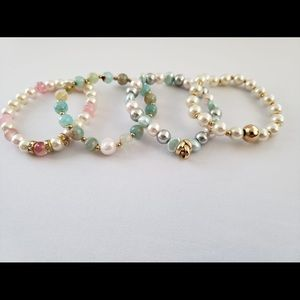 🌺Agate stone and freshwater pearl bracelet set 🌺